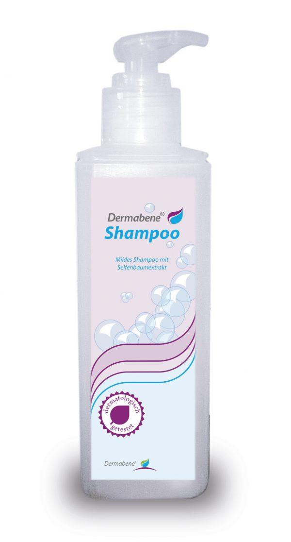 Unser Dermabene Shampoo. Mildes Shampoo mit Seifenbaumextrakt.